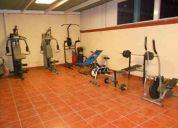 Todos los aparatos de ejercicio que se ven ahi y una silla abdominal aparte de la azul