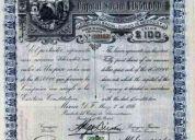 2 titulos de 30 acciones c/u de cia. petrolera de aquismon,s.a. del año 1916