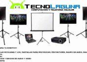Renta de proyectores, laptops, netbooks,equipos de audio,  pantallas de lcd