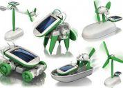 Juguete solar 6 en 1, se transforma en robot, carro, bote, avion