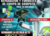 Reparacion de equipo de computo y reparacion de luces rojas de xbox360 y software de `pc
