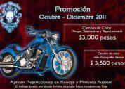 Promocion octubre - diciembre repintado o cambio de color  en motos $3000.00 pesos