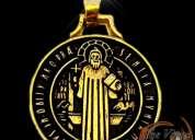 Medalla de san benito en fina chapa de oro / una de las protecciones mas fuertes