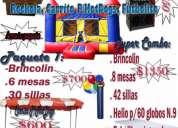 Renta de brincolines,mesas,sillas,helio,futolito,rockola,carritp p/hotdogs