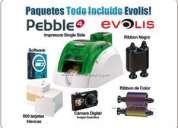 Paquete todo incluido-impresora pebble 4 para imprimir carnet, credenciales, tarjetas