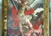 Arcangel miguel con marco laminado con hoja de oro