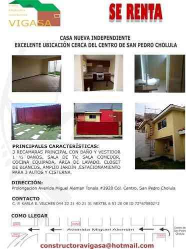 Inmobiliaria VIGASA, Renta Casa Sola Nueva