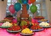Fuentes de chocolate, chamoy, cupcake, cake pops y pasteles de fondant