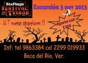 """Excursion six flags """"festival del terror"""" desde veracruz 3 nov 2013"""