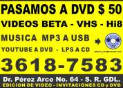 Pasamos tus videos a dvd - musica mp3 a usb