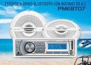 Kit estereo marino bluetooth bocinas marinas audio nautico rzr cuatris lancha rhino vallartazo