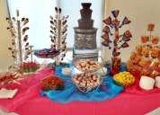 mesa de postres, fuente de chocolate y chamoy mty