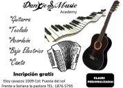Clases de guitarra, teclado, acordeón, bajo