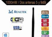Adaptador de red wifi alfa luxury 1000mw 9 y 5dbi usb...(nuevo) a solo 700 pesos !!!