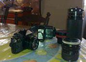 Camara canon a-1 con lentes  y flash