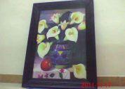cuadro con la imagen de un jarrón y alcatraces, madera rústíca 1m. x.70cm.