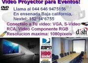 Rento proyector de video svga conectalo a la tv dish sky computadora vga para eventos