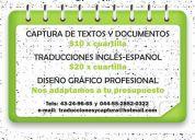 $10 x captura de cuartilla, $15 por traducción inglés-español
