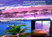 Departamento con playa en renta zona dorada, albercas y vista preferencial