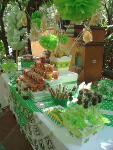 Mesas de dulces botanas fruta y postres jes s mar a for Como decorar mesa de postres para baby shower