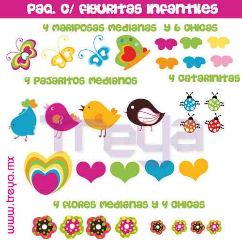 Paquete de calcoman as con figuras infantiles para decorar for Calcomanias para pared