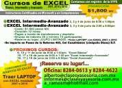 Excel intermedio-avanzado 12 horas $1, 800 pesos